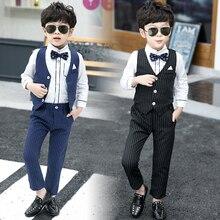 Traje de niños camisas + chaleco + Pantalones + corbata 4 piezas para  fiesta de boda rayas flor Formal de los muchachos trajes d. d6ac6282143