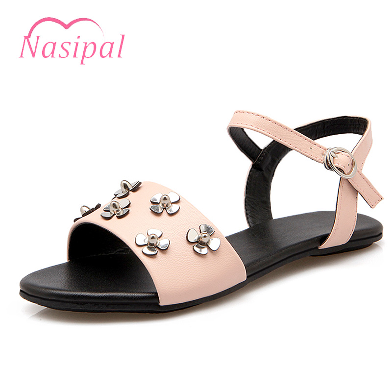 Nasipal Summer Sandals Women Shoes Flat Shoes Sandalias Mujer Ladies Shoes Women Gladiator Sandals Punk Rivets Studded C229 summer flat sandals ladies jelly bohemia beach flip flops shoes gladiator women shoes sandles platform zapatos mujer sandalias