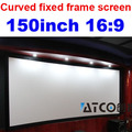 Freeshipping New design 150 inch 16:9 Curved fixed frame DIY HD projection screen Matt white for projector home cinema theater