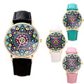 Fashion Casual Clock Geneva Dress Watch Women Sunflower Style Leather Strap Relogio Feminino Fantastic Gift Reloj Graffiti Watch