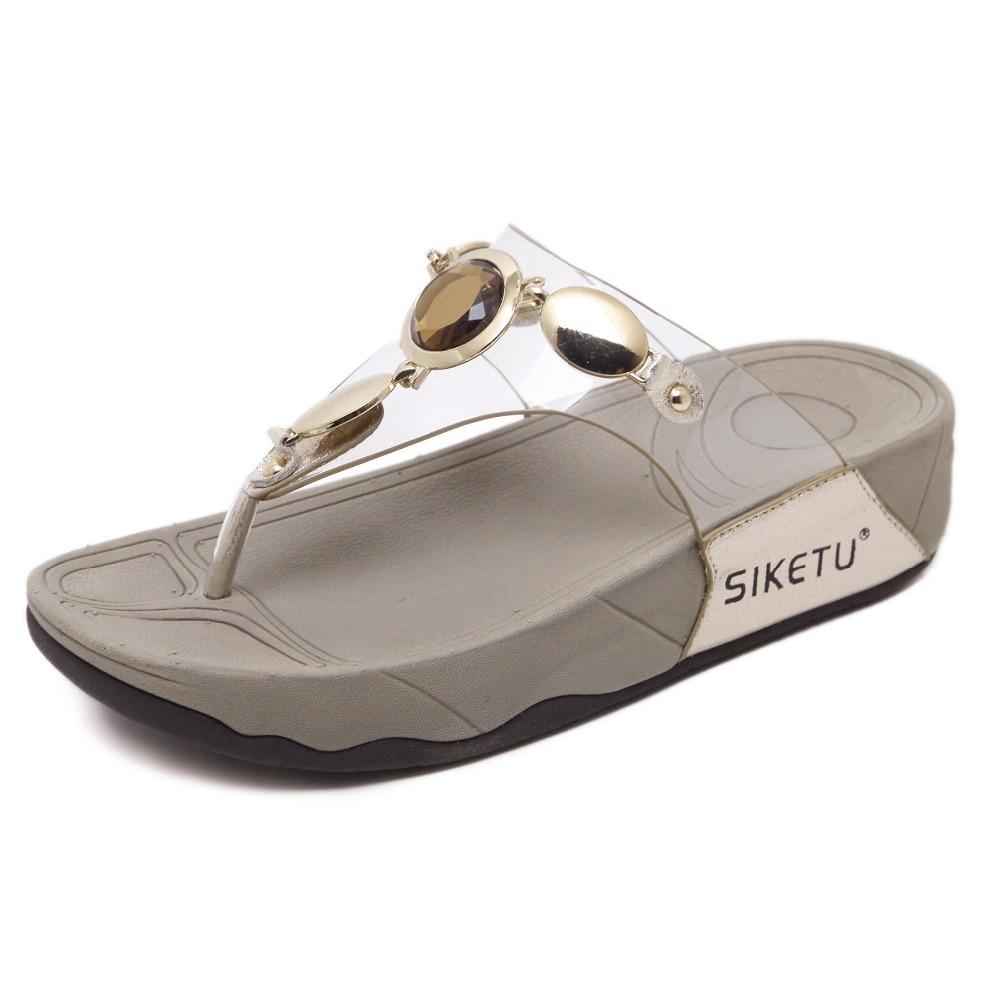Women summer Shoes sandalias metal beaded Gladiator heels shoes wedges  slides Sandalias Chaussure Slippers female flip c83752341869
