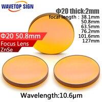 USA CVD ZnSe CO2 Laser Focusing Lens Dia 20mm FL 50 8mm 2inch Cutting Engraving Machine