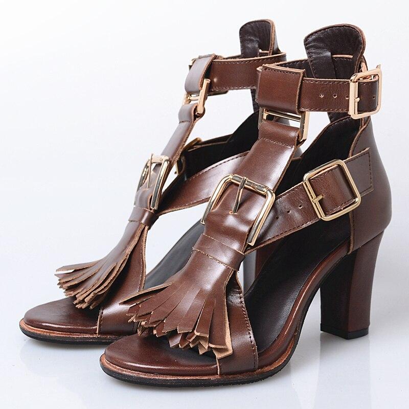 Perfetto 8 Cm Pompes Marron Sandales Chunky Chaussures Prova Dames Robe Femmes D'été Talons À Franges Hauts Boucles Gladiateur Sandale WH9I2ED