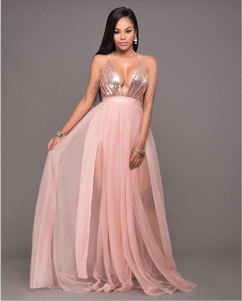maxi dress rose gold nike