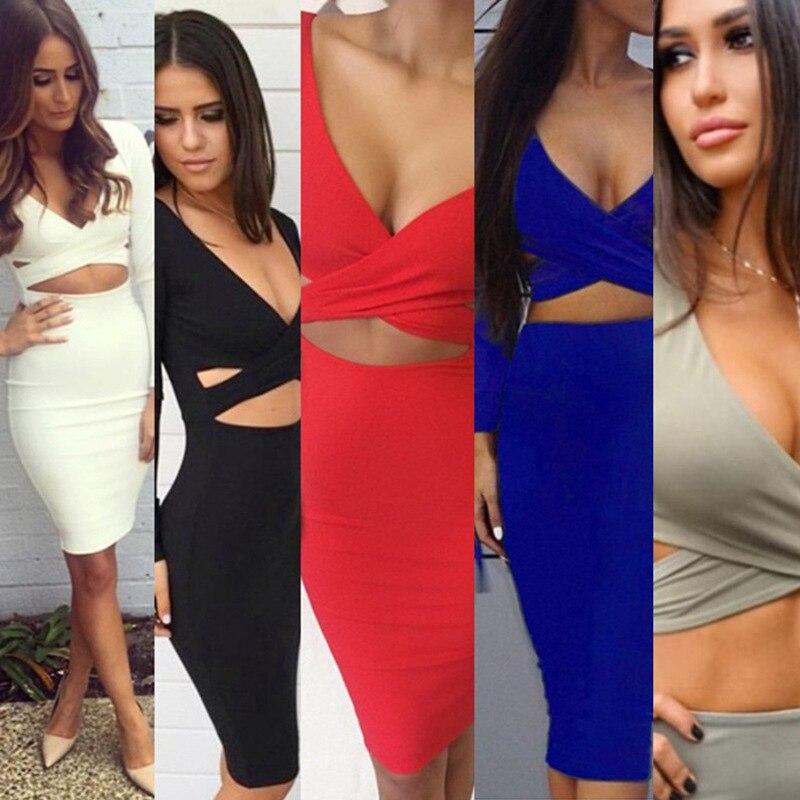 Womens Sexy Long Sleeve Cut-Out Bandage Midi Dress BONJEAN