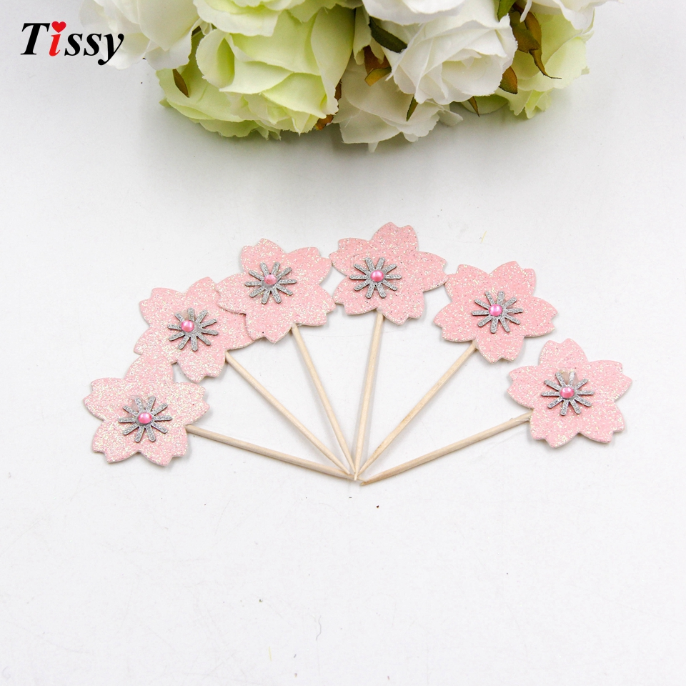 20PCS/Lot Bling Pink Cherry Blossoms Diamond Cake Topper Decoration ...