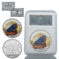 WR Bluebird Cute Animal Metal Coin Home Decorative Souvenir Coins 999.9 Silver Plated Gift Coins with Security Box Crafts
