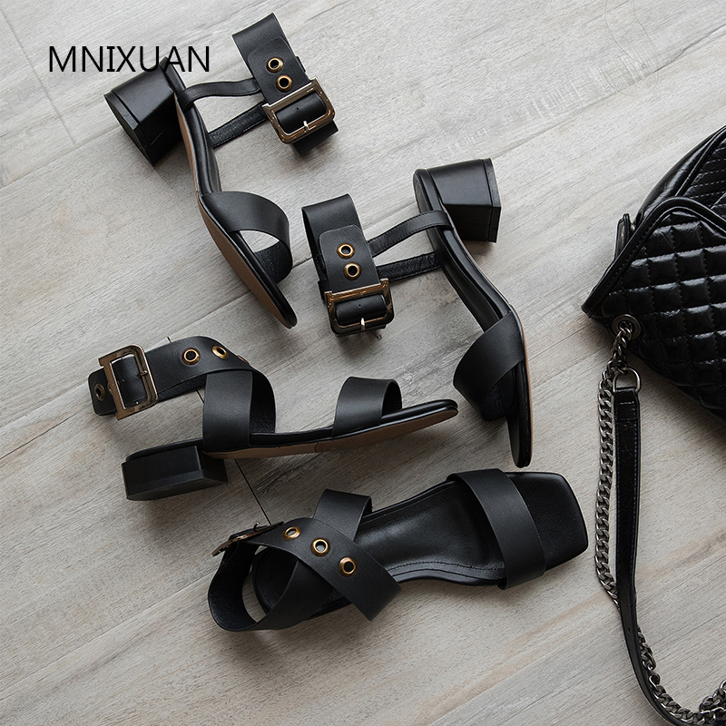 MNIXUAN Europe fashion women gladiator sandals shoes 2019new genuine leather open toe rome buckle block high