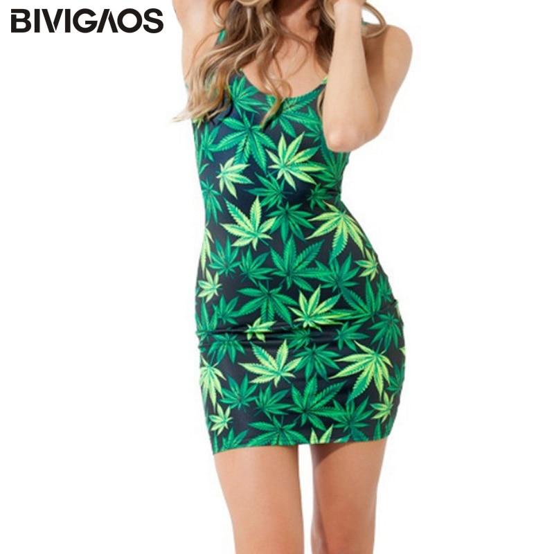 BIVIGAOS Fashion Women Casual Summer Style Vestidos Women Dress Marijuasnaes Weed Leaf Black Milk Fashion Mujer Bandage Beach