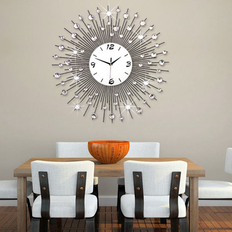 big wall clocks for living room burnt orange leather furniture aliexpress com buy 3d clock modern design home decor watches 64pcs diamonds decorative wrought iron silent 60 75cm from