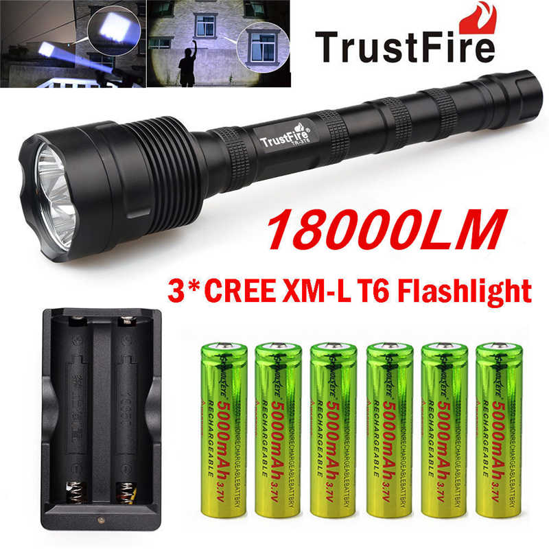 TrustFire 3X XML T6 18000LM LED Flashlight Torch + 6x 18650 Battery+Charger powerful led flashlight lampada led T6 #4S3 3 modes 1 xml t6 flashlight ultra bright torch display power rechargeable led flashlight by 1 18650 1 26650 battery