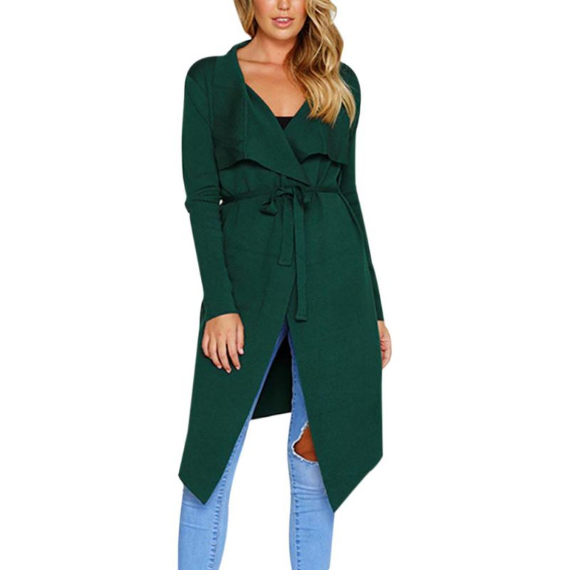 Women Solid Long Sleeve   Trench   Coat Elegant Slim Women Coat Long   Trench   Coat Thin Windbreaker Lace Up Cardigan Overcoat Female