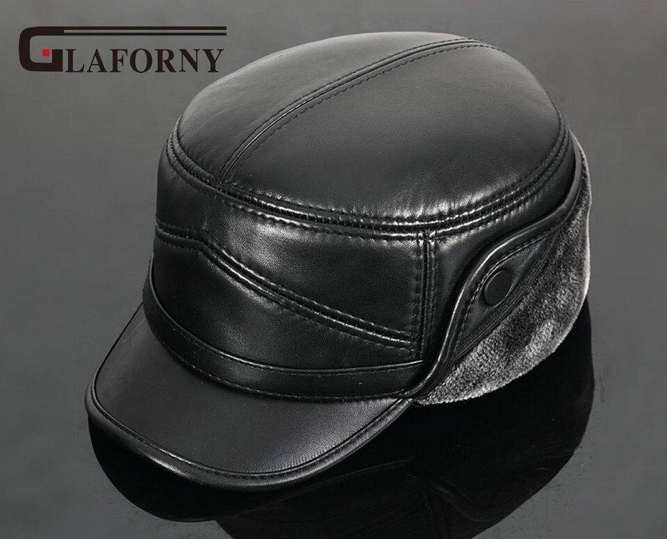 Glaforny 2017 натуральная кожа бейсболка шляпа мужская новый Корова кожа шляпы Шапки уха ...