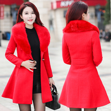 b New Fashion Winter Women Woolen Coat Body With Long Thick Warm Big Fur Collar Jacket Outerwear Clothing