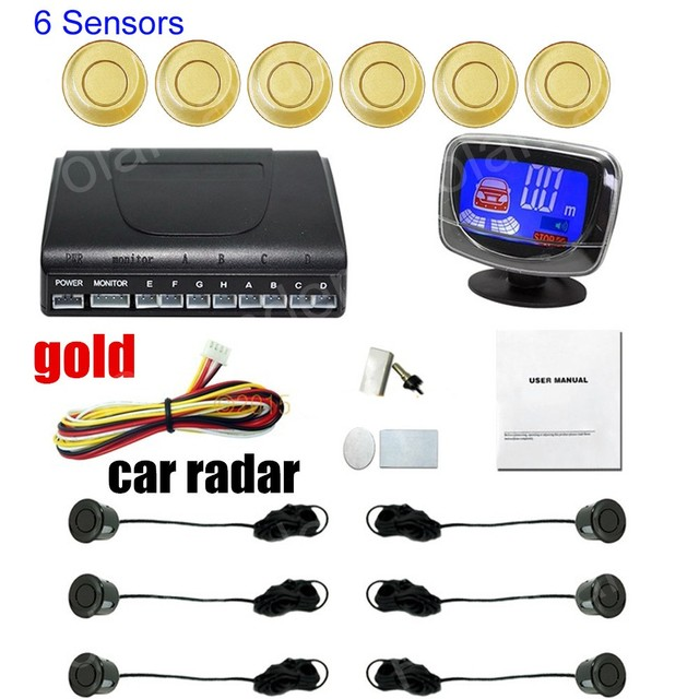 hot sale 9 colors for option car parking system with 6 sensors for front and rear buzzer alarm LCD display monitor car radar
