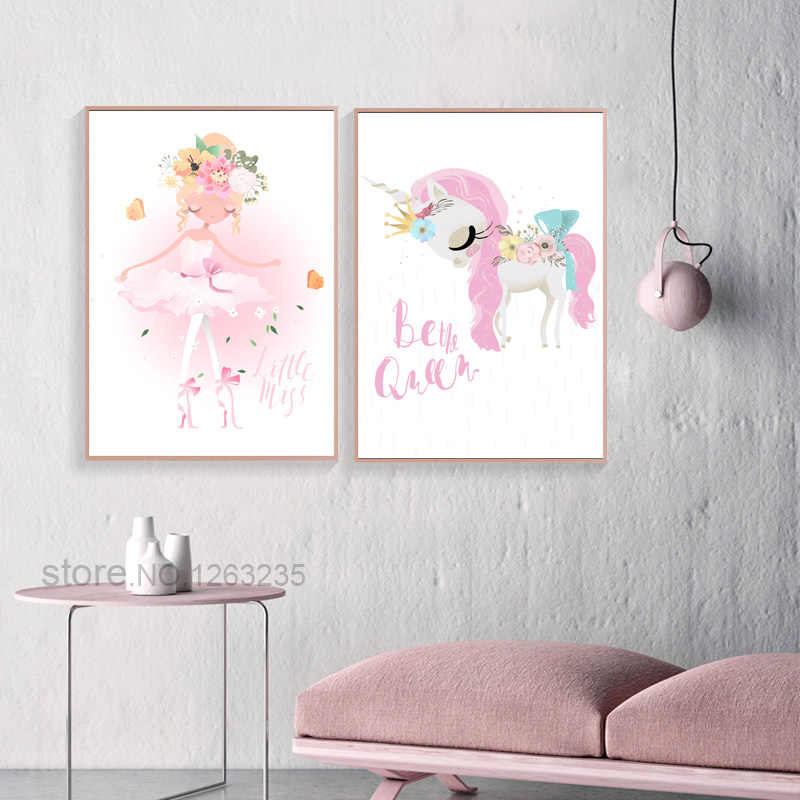 Pink Unicorn Nordic Poster Flower Princess Cuadros Decoration Queen Wall Art Canvas Painting Nursery Pretty Girl Prints Unframed