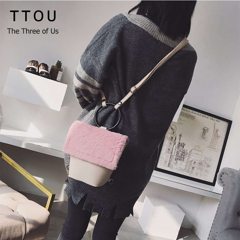 TTOU Fur PU Leather Women Backpacks Circle handle School Bags For Teenager Girls Cute Travel Backpack 3 in 1 Use Patchwork Bag