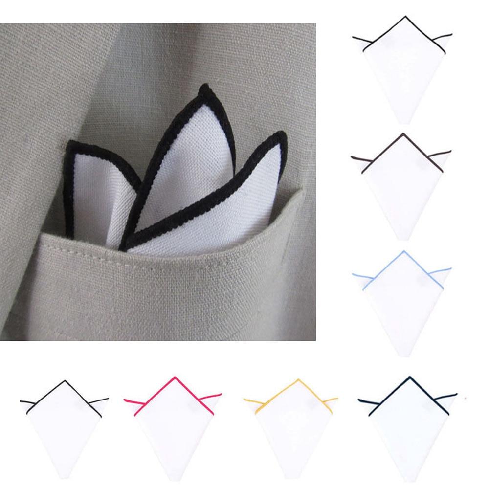 1 PCS Men's Cotton Square Scarf Pocket Handkerchief Towel Solid White Monochrome Colored Edges Male Handkerchief