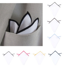 1 PCS Men's Cotton Square Scarf Pocket Handkerchief Towel Solid White Monochrome Colored Edges Male Handkerchief