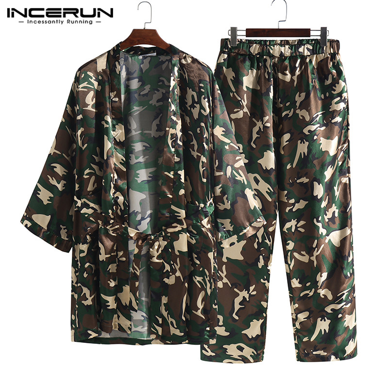 INCERUN Men Elastic Waist Stain Jacquard Camouflage Print Lounge Pants Long Leisure Sport Pants Loose Men Trousers Pajamas 2019