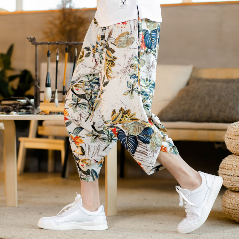 Korean Fashion Floral Printed Baggy Cotton Linen Harem Pants Men Summer Beach Vacation Trousers New Loose Calf Length Pants 5XL