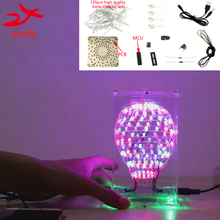 zirrfa Colarful LED Cubic Ball Electronic DIY Kit with Excellent animation 3mm RGB LED Light Cubeed Brain-training Toy недорого