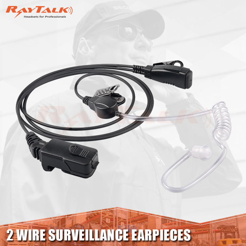 2 wire acoustic tube earpiece with lapel PTT/ Microphone for TPH700 RADIOS  wire