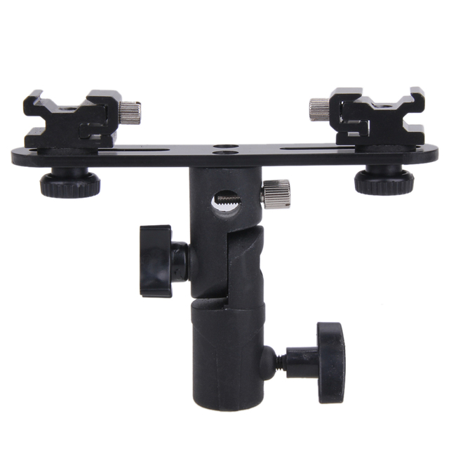 Universal Camera Flash Bracket 2 Hotshoes Umbrella Holder Swivel Light Stand for Speedlight Photo Studio Accessories