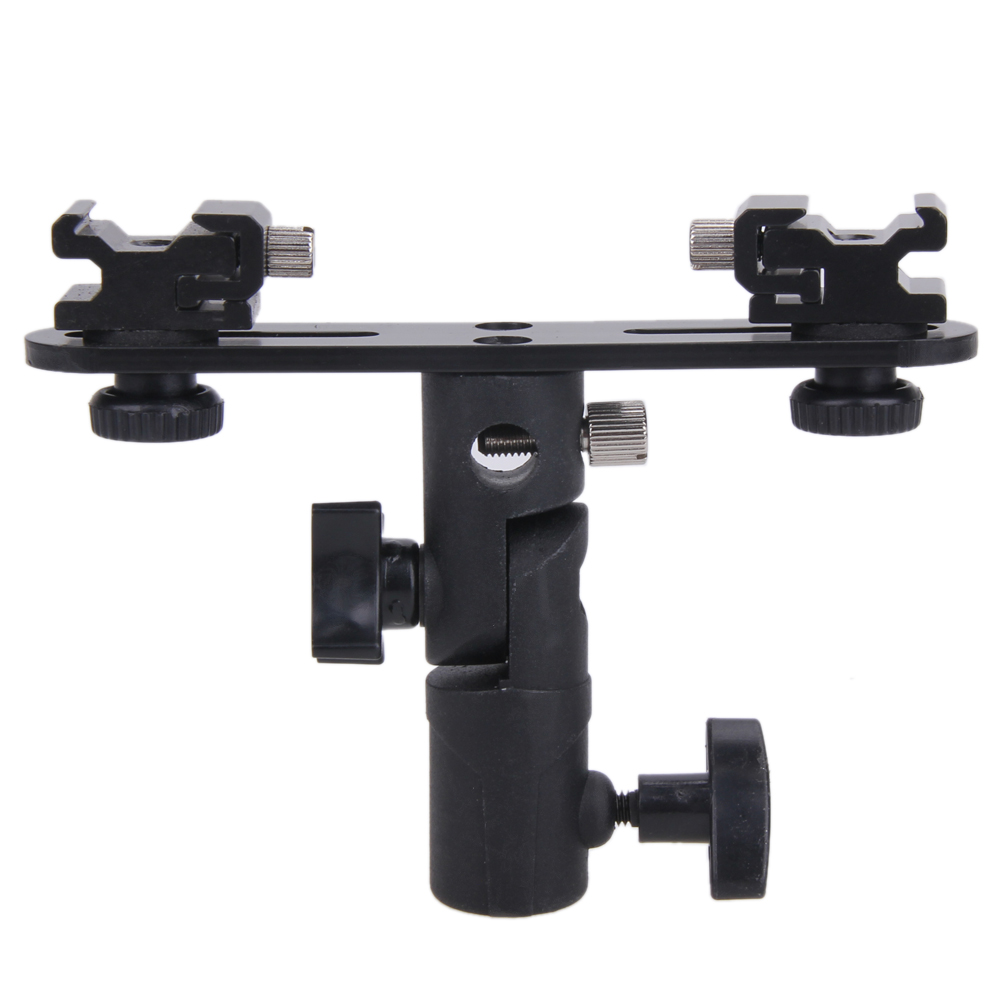 Universal Camera Flash Bracket 2 Hotshoes Umbrella Holder Swivel Light Stand for Speedlight Photo Studio Accessories