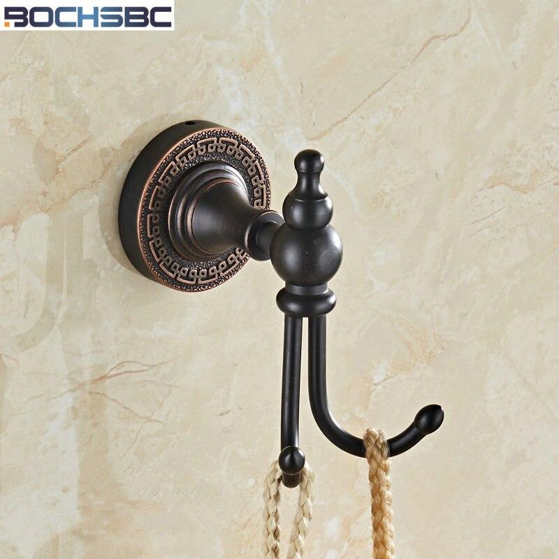 European Black Copper Wall Coat Rack for Bedroom Kitchen Hanger Bathroom Accessories Bronze Clothes Hat Towel Hook with 2 Hooks