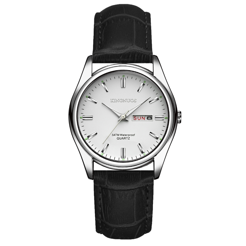 KINGNUOS Brand Fashion Luxury Genuine Leather Bracelet Watch For Women Dual Time Male Clock Saats Mens Watches Relogio Masculino