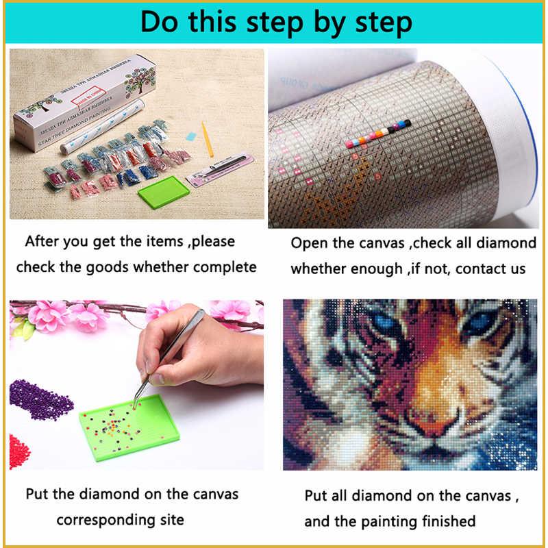 DIADIY DIY diamante bordado feliz payaso 5D diamante pintura Cruz Stitch Kits completo diamante mosaico decoración pared pegatina dibujos animados