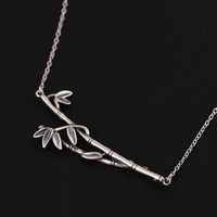 Amxiu Handmade 925 Sterling Silver Necklace Antique Silver Plated Bamboo Pendant Necklace For Women Girls Vintage Jewelry Bijoux