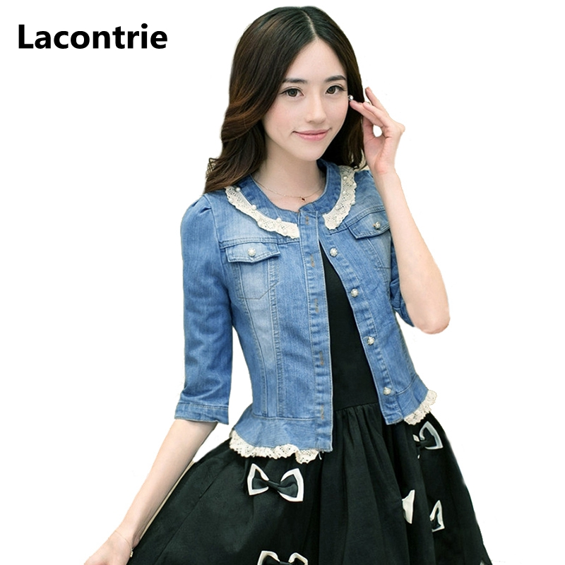 Lacontrie Retro Women Short Denim Jackets Outerwear 2017 New Round Neck Ladies Lace Cowboy Coats Half Sleeved Jean Jackets T087