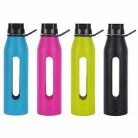 Bpa Bottiglia di Acqua di Vetro con Tappo Torsione e Custodia In Silicone Morbido Grande per Yoga PALESTRA Ciclismo 570 mL 19 Oz