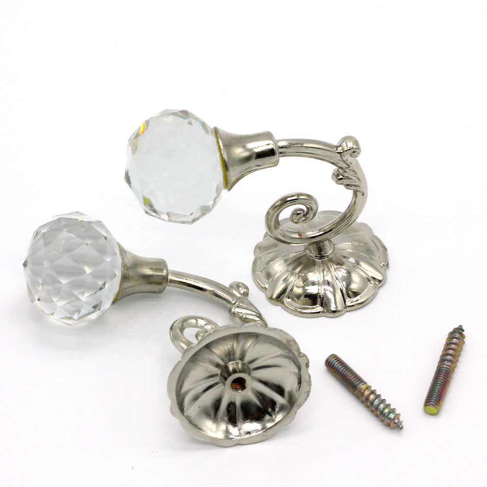 Vintage Metal Crystal Ball Curtain Hooks For Curtains Drapery Wall Tie Back  Hanger Holder Curtain Hanging