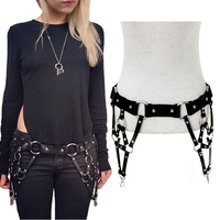 Fashion Female Belt Accessories Triangular Metal Punk Rivet Leather Belt Women Nightclub Sexy Hollow Multilayer Woven