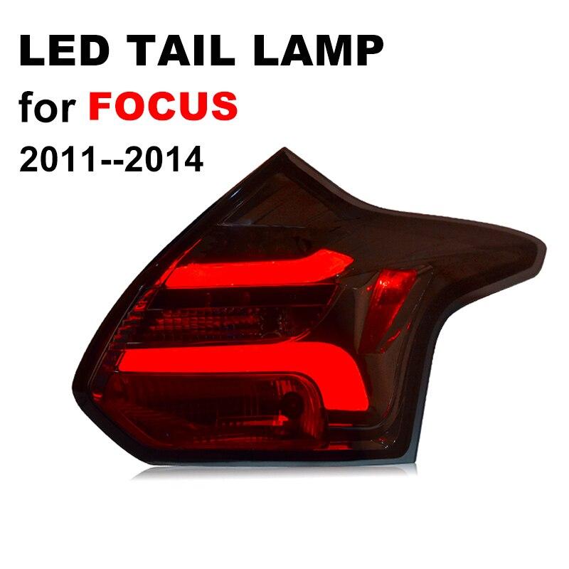 Feu arrière LED pour Ford Foucs 2011 2012 2013 feu arrière LED noir fumé avec clignotant jaune et feu de freinage rouge