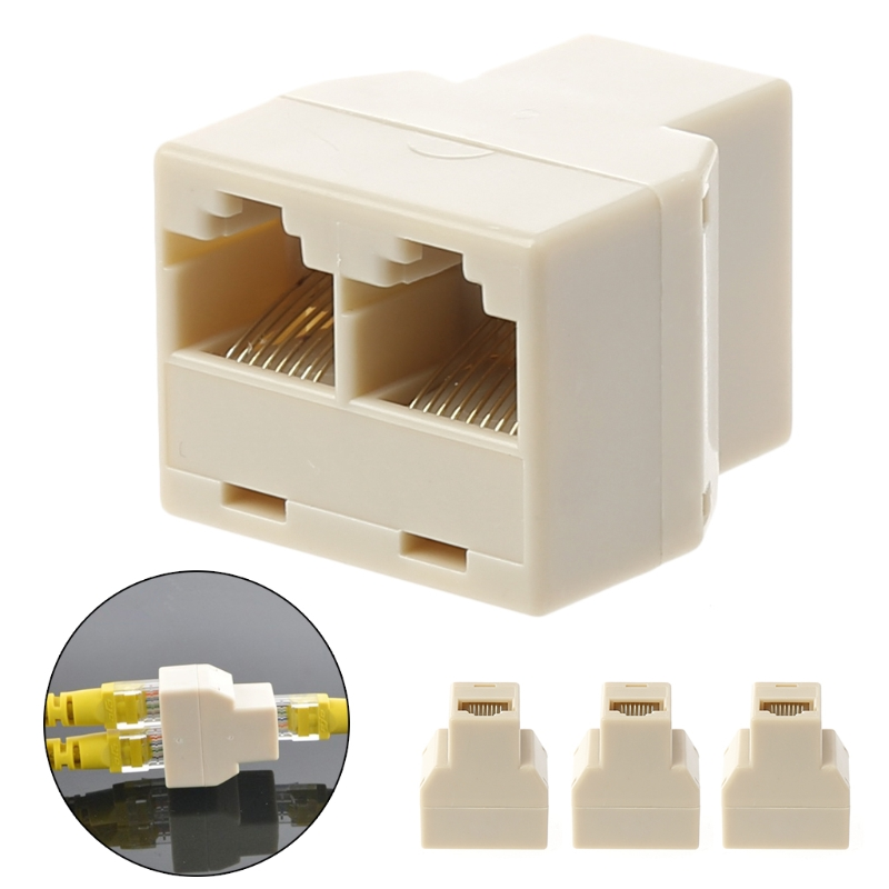 3Pcs 1 To 2 Way LAN Ethernet Network Cable RJ45 Female Splitter Connector Adapter New Drop shipping
