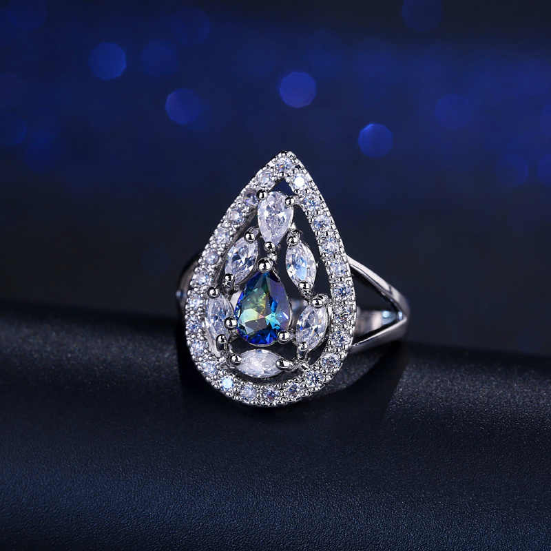 CWWZircons 2017 New Arrival Elegant รูปร่าง Mystic Blue คริสตัลและ Cubic Zirconia แหวน Rianbow Fire Stone R056