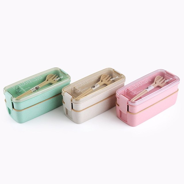 Two Layer Wheat Straw Lunch Box