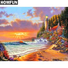HOMFUN Full Square/Round Drill 5D DIY Diamond Painting Ocean Lighthouse Embroidery Cross Stitch 5D Home Decor Gift A06065 шапка унисекс с полной запечаткой printio крестики