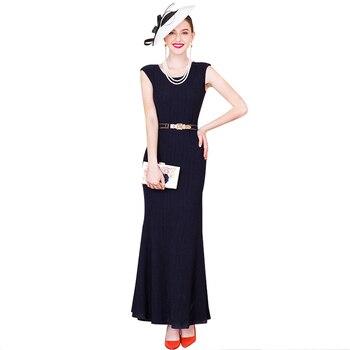 S-3XL bureau dame Slim sirène robe grande taille femmes vêtements O cou marine parti moulante robe 8089