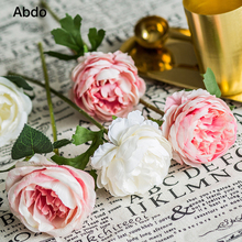 30cm Rose White Silk Artificial Flowers Bouquet 8cm Big Head Fake for Home Wedding Decoration Indoor Gold