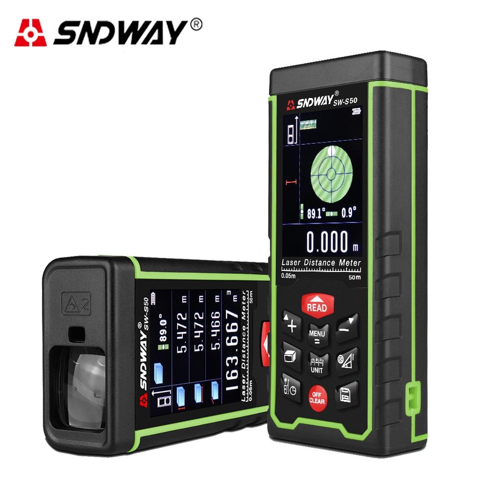 SNDWAY Large Color display 50m 164ft Digital Laser Rangefinder laser distance meter Length/Area/Volume/Pythagoras Measure tool цены