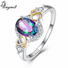 lingmei Hot Classic Oval Cut Multicolor & Blue Red White Cubic Zircon Silver Jewelry For Women 925 Ring Size 6 7 8 9 Gift