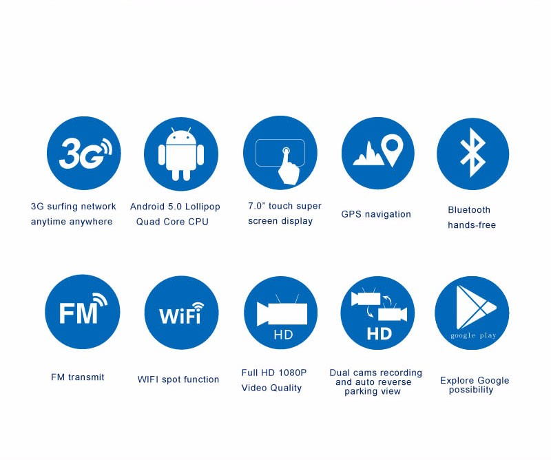 Free 32GB card+3G Car DVR+Android 5.0 Bluetooth GPS WIFI Dual lens rearview mirror camera+FHD1080P camara automovil Phisung H2 4