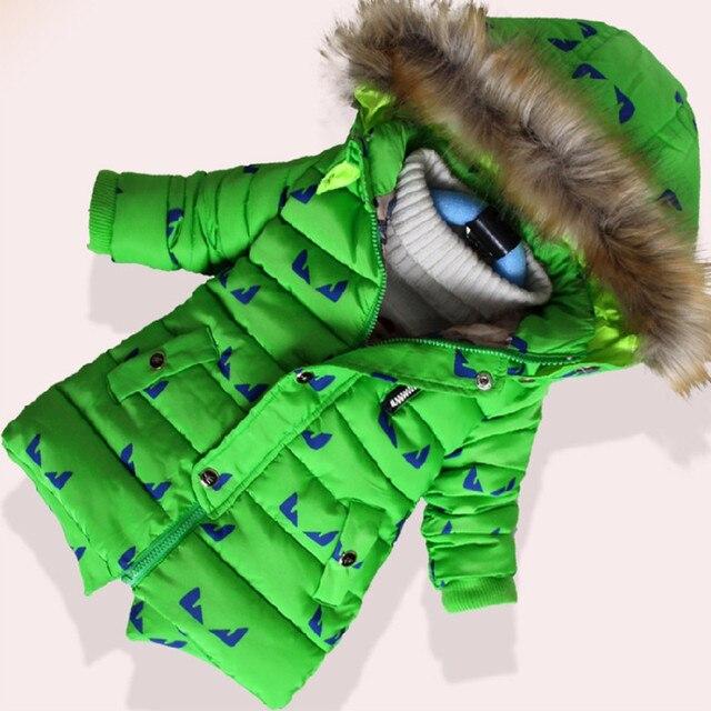 Сгустите зимние куртки для мальчиков мультфильм печатных меха с капюшоном мальчик зимнее пальто дети верхняя одежда случайный ребенок мальчик одежда