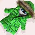 Espesar chaquetas de invierno para niños de dibujos animados impresos con capucha de piel de abrigos de invierno niño niños prendas de abrigo ropa de la ropa del bebé ocasionales
