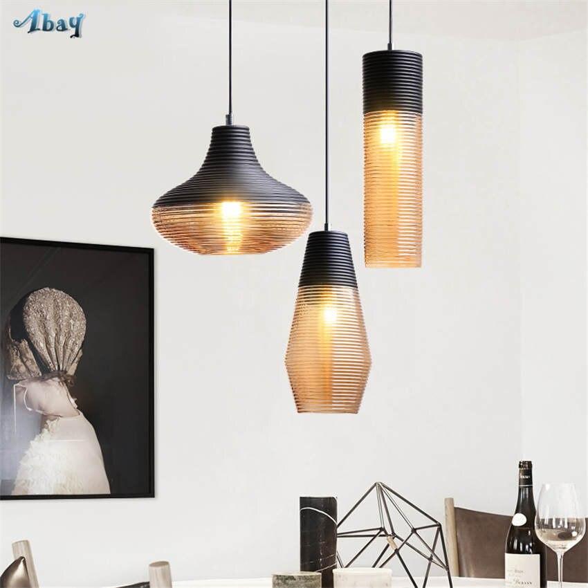 American vintage vis fil teinté verre pendentif lumières pour salon bar art déco salle à manger luminaires led accrocher lampe